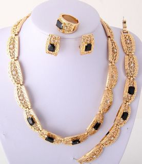 Black Gold Plated Necklace Bracelet Earring Ring Set