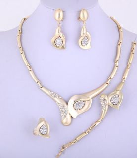 Gold Plated Necklace, Bracelet, Earring & Ring Set w/ Rhinestone No 7