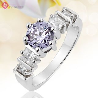 Tanzanite Rhinestone White Gold Plated Engagement Ring Size 8 Q