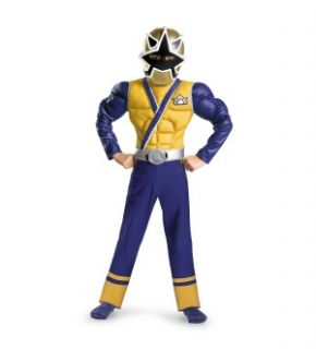in his Power Rangers Gold Ranger Samurai Muscle Chest Child Costume
