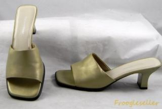 Naturalizer Womens Slide Sandal Heels Shoes 9 M Gold Leather