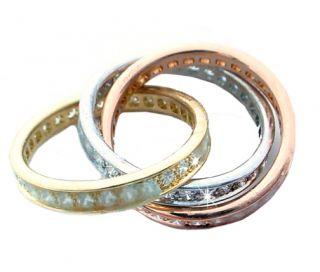 Cartier Trinity Tri Color Diamond Gold Ring 8715