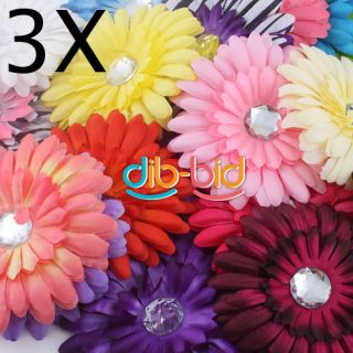 New 3 x Baby Hair Bow Gerbera Daisy Flower Headband Clip 2