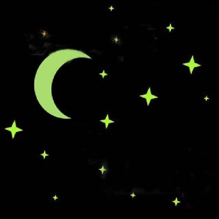New Glow in Dark Bedroom Ceiling Wall Fluorescent Moon Stars Wall