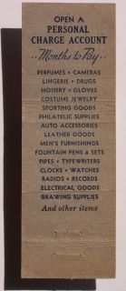 1940s Matchbook Goldsmith Bros Department Store NYC NY