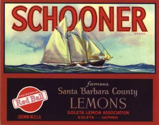 Lemon Crate Label Santa Barbara Goleta Vintage Schooner