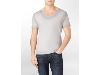Calvin Klein CK One Sprayed Solid V Neck Graphic T Shirt Mens