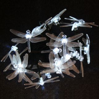 White 20 LED 2M Fairy Party Christmas Solar String Light Dragonfly