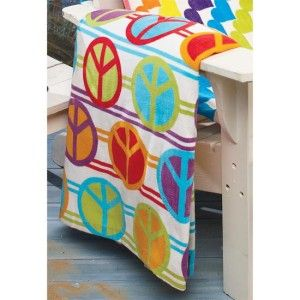 Colorful Bright Hippie Peace Sign Pool Beach Towel New