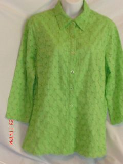 Coldwater Creek Size M Green Blouse Shirt Top Jacket Clothes Womens