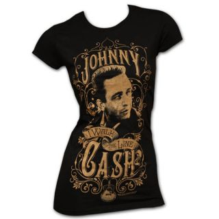 Johnny Cash Walk The Line Black Juniors Graphic Tee Shirt
