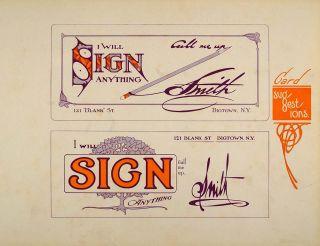 art 1910 print business card graphic design sample template original