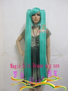 120cm Vocaloid Hatsune Miku Cosplay Costume Full Wig 2 Ponytails Party
