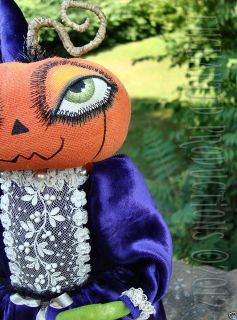 OOAK PFATT Primitive Folk Art Princess Pumpkin Halloween Doll Joyce