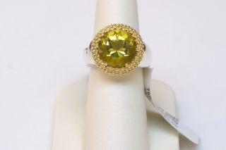 New Lagos Caviar Two Tone and Green Quartz Ring Size 7 $895