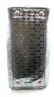 Michael Kors Grayson Mirror Metallic Large Double Strap Satchel Silver