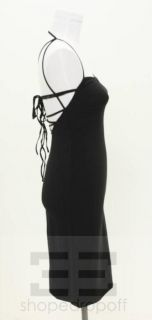 Gianni Versace Couture Black Fitted Strappy V Back Sleeveless Dress Sz