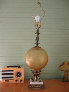 Large Vintage Amber Glass Ball w Marble Base Lamp Light Fixture