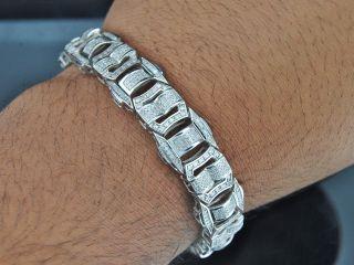 Mens White Gold Finish Real White Diamond Bracelet Tennis Designer