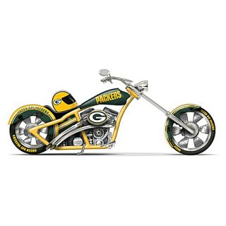 NFL Green Bay Packers Chopper Figurine with Official Team Logos Chrome
