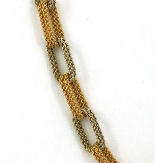 Hefty Two Tone 18K Gold Woven Style Chain Necklace