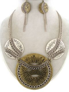 Antique Gold Two Tone Chains Metal Art Statement Costume Necklace Set