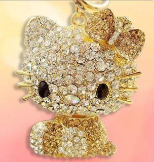 Gold Hello Kitty New Cat Swarovski Crystal Charm Pendant Keying Ring
