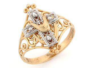 14k Two Tone Gold Cross Shroud Religious Filigree Ring
