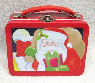 Mini Santa Clause Lunch Box Tin New