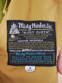 Vtg 70s Faux Fur Lined Swing Trench Rain Coat Jacket 8