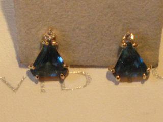 ESTATE 14K YELLOW GOLD LONDON BLUE TOPEZ DIAMOND EARRINGS A STUNNER