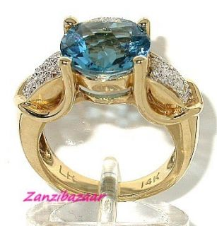 Laura Ramsey 14k Yellow Gold London Blue Topaz Diamond Ring
