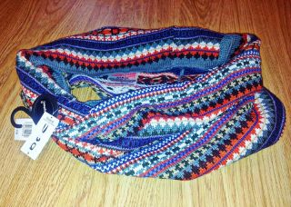 Knit Aztec Fairisle Snood Scarf Blue Green White Black Tan