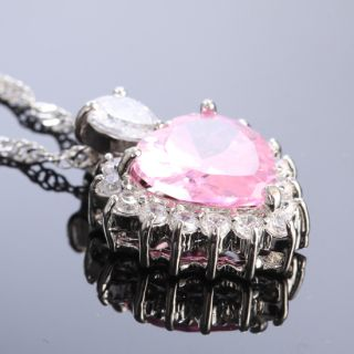 wedding jewelry heart nib pink sapphire white gold plated pendant free