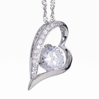 Lady Jewelry Free Chain White Topaz Rhinestones White Gold Pendant