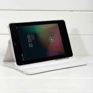 Google Asus Nexus 7 White 360 Rotating Magnetic Leather Smart Case