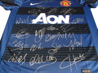 Signed Manchester United Soccer Shirt Inc Rooney Giggs Nani COA