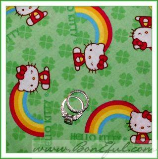 Kitty Rainbow 4 Leaf Clover St Patricks Day Irish Luck Vtg FQ