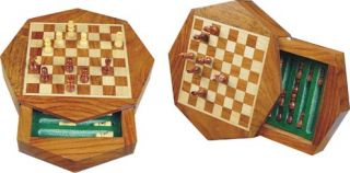 Magnetic Chess Set Box Octagonal Golden Rosewood 6