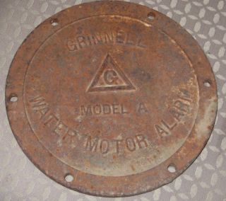 Old Iron Lid Grinnell Water Motor Alarm Vintage Steampunk Art Parts