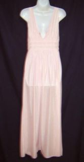Vintage Gilead Pink Swiss Dotted Nylon Long Nightgown ~ Elastic Back