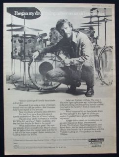 Ginger Baker 1977 Poster Ad Ludwig Drums Zildjian Cream
