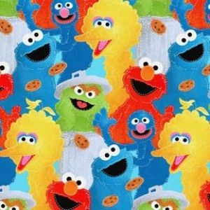 STREET CHARACTERS ELMO BIG BIRD OSCAR COOKIE MONSTER GROVER FABRIC