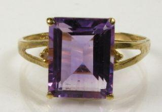 Flawless 3 5ct Genuine Step Cut Amethyst Diamond 10k Yellow Gold Ring