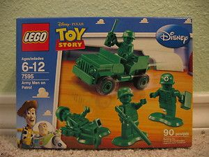 Disney Toy Story Army Men Patrol 4 Minifigs Retired Green Jeep