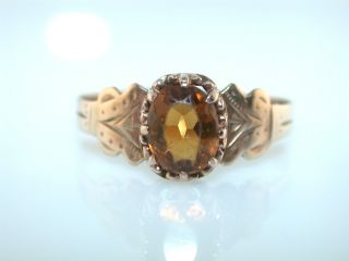 Antique Golden Topaz Citrine 14kt Yellow Gold Ring