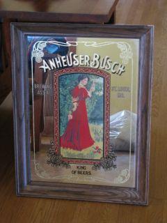 Budweiser Mirror Gibson Girl Anheuser Busch RARE