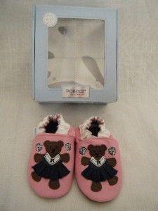Robeez Baby Girl Pink CHEERLEADER Bear Crib Walking shoes 6 12 months