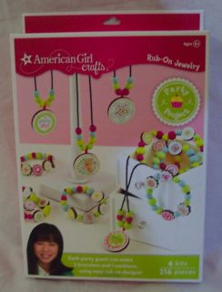 American Girl Crafts Rub on Jewelry Set Party Project Kit Birthday