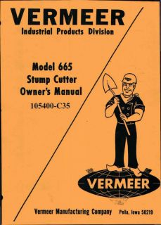 Vermeer 665 Stump Grinder Repair and Parts Manual